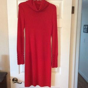 Form-Fitting Red Cowl Neck Sweater Dress, Med